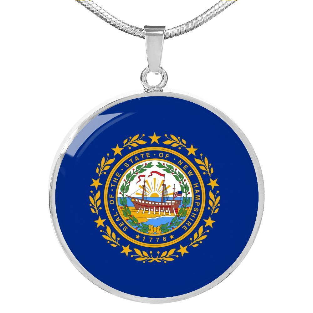 "Nebraska State Flag Necklace Stainless Steel or 18k Gold Circle Pendant 18-22"" - Express Your Love Gifts"