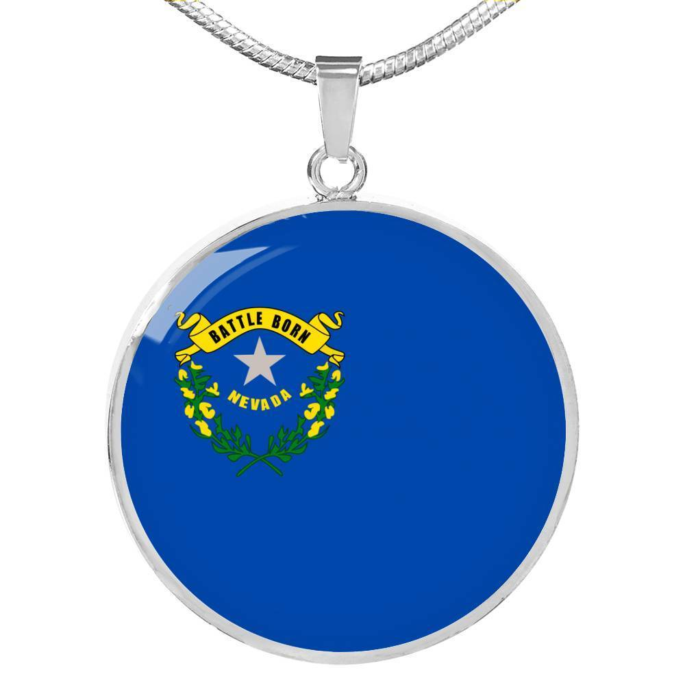"Nevada State Flag Necklace Stainless Steel or 18k Gold Circle Pendant 18-22"" - Express Your Love Gifts"