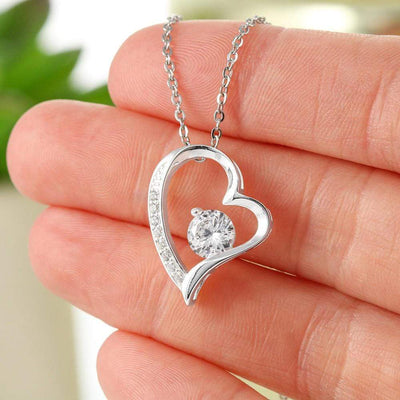 "Never Forget Cubic Zirconia Love Heart Pendant 18k Gold or Stainless Steel 18"" Necklace Express Your Love Gifts"