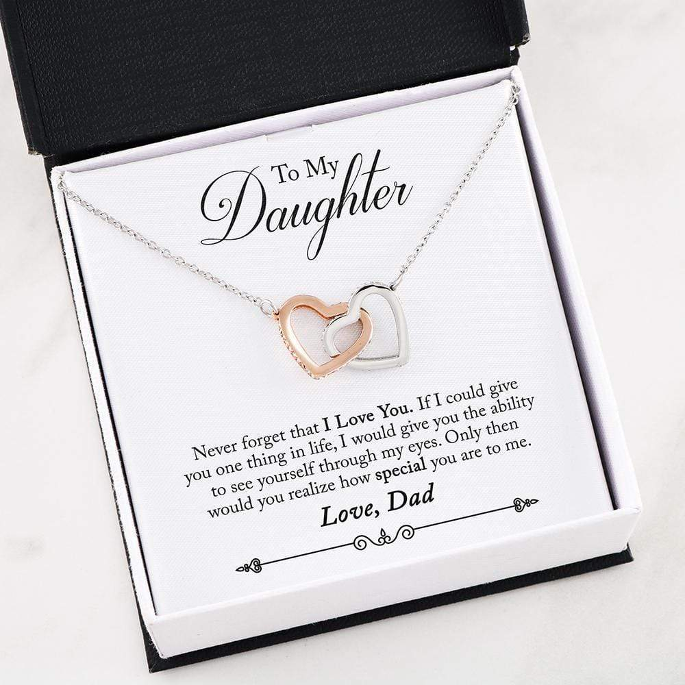 "Never Forget Double Heart Infinity Pendant 18k Rose Gold Surgical Steel Cubic Zirconia Necklace 16"" Express Your Love Gifts"
