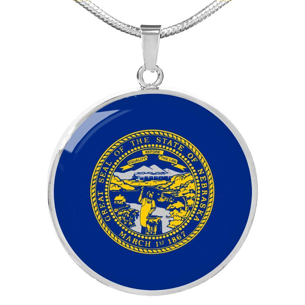 "New Hampshire State Flag Necklace Stainless Steel or 18k Gold Circle Pendant 18-22"" - Express Your Love Gifts"