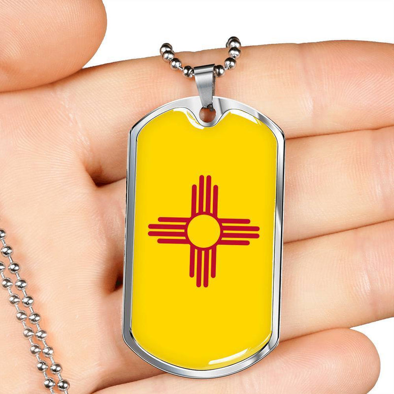 "New Mexico State Flag Necklace Stainless Steel or 18k Gold Dog Tag w 24"" Chain - Express Your Love Gifts"