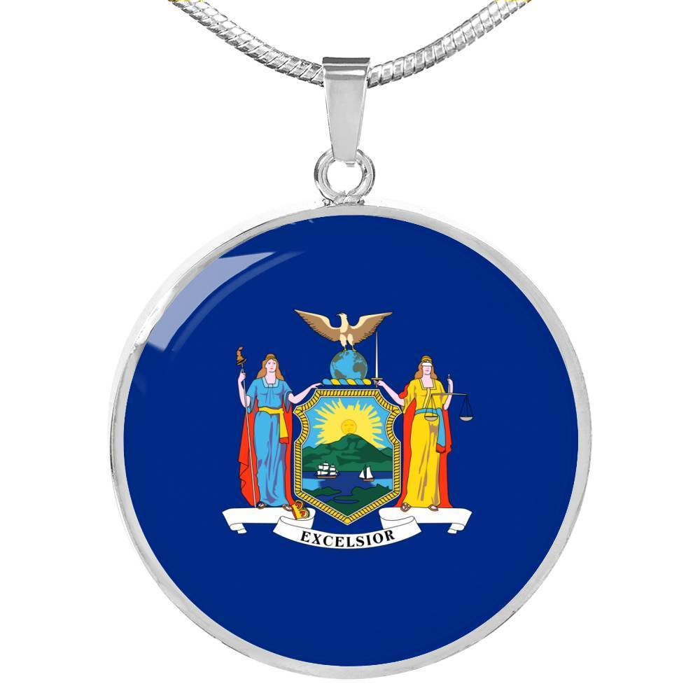 "New York State Flag Necklace Stainless Steel or 18k Gold Circle Pendant 18-22"" - Express Your Love Gifts"
