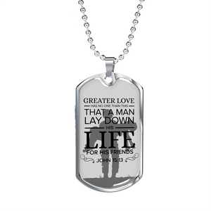 Express Your Love Gifts No Greater Love Soldier Scripture Jewelry -John 15:13 Dog Tag Pendant Necklace Military Chain (Silver) / No
