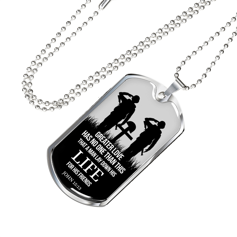 Express Your Love Gifts No Greater Love Soldier Scripture Jewelry John 15:13 Dog Tag Pendant Necklace Military Chain (Silver) / No