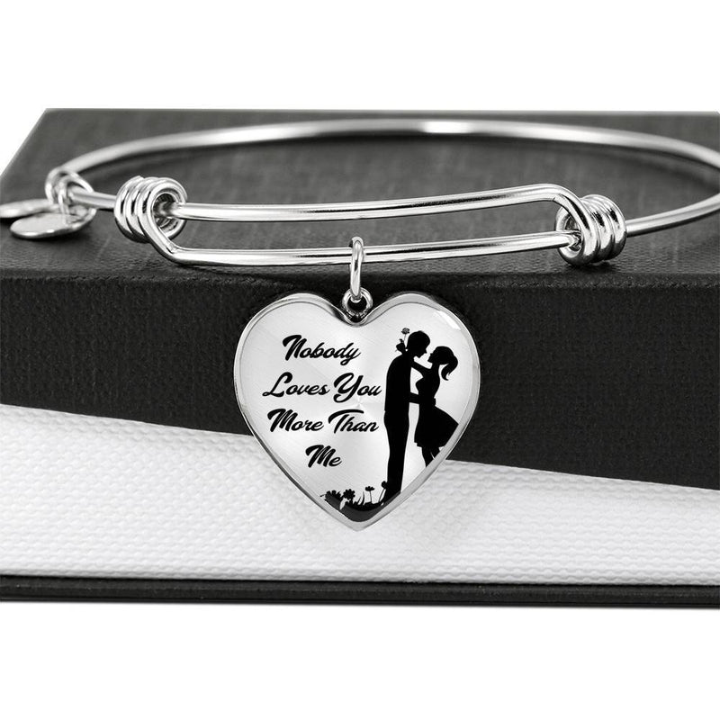 Express Your Love Gifts Nobody Loves You More Than Me Heart Pendant Bangle Bracelet