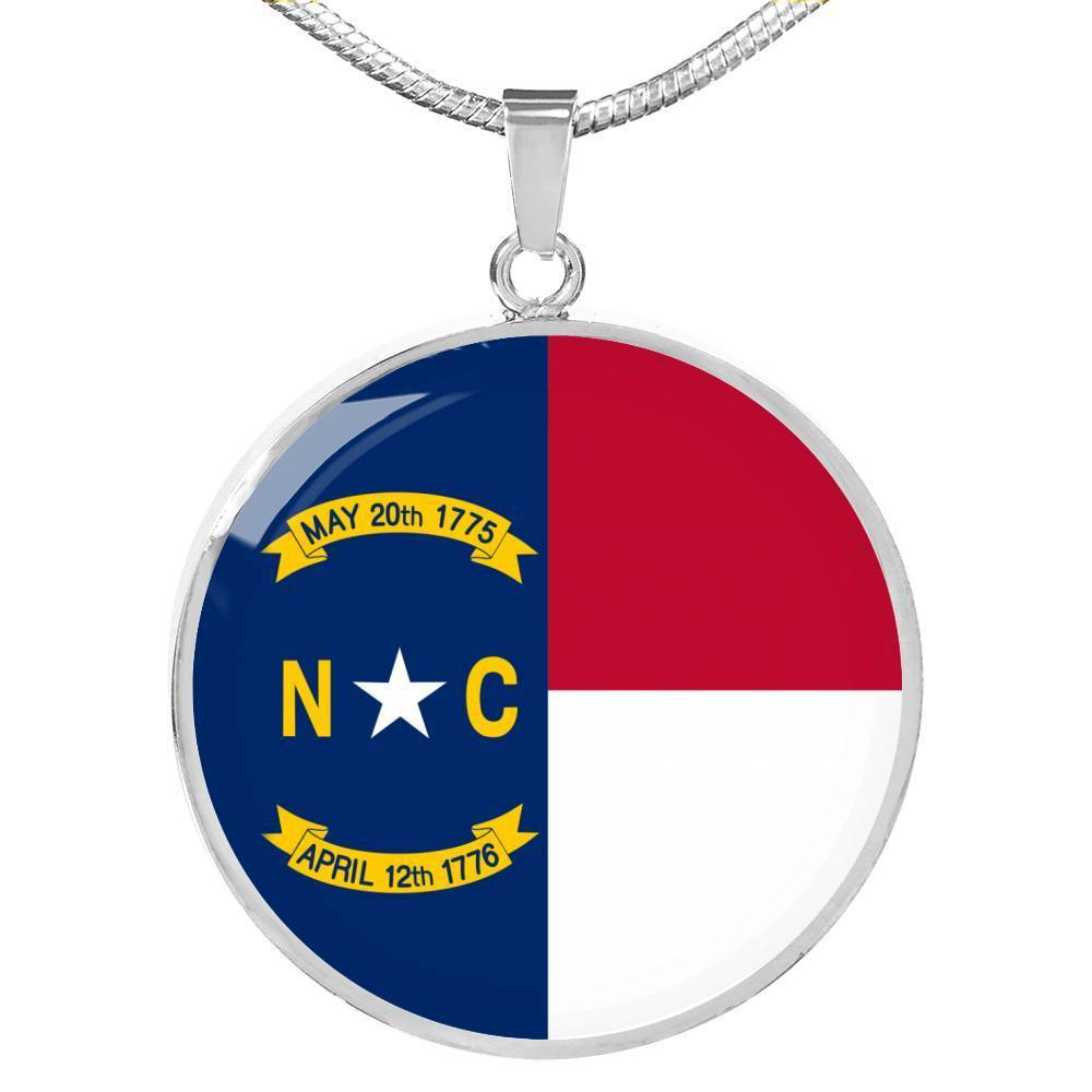 "North Carolina State Flag Necklace Stainless Steel or 18k Gold Circle Pendant 18-22"" - Express Your Love Gifts"