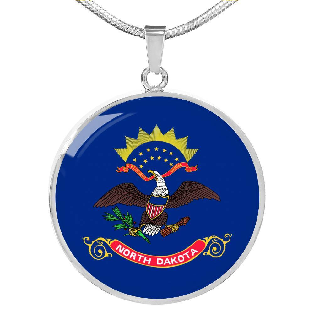 "North Dakota State Flag Necklace Stainless Steel or 18k Gold Circle Pendant 18-22"" - Express Your Love Gifts"