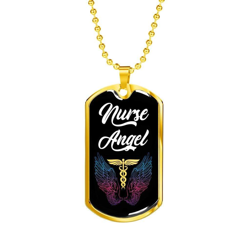 "Nurse Angel Dog Tag Stainless Steel or 18k Gold Finish 24"" Ball Chain Express Your Love Gifts"