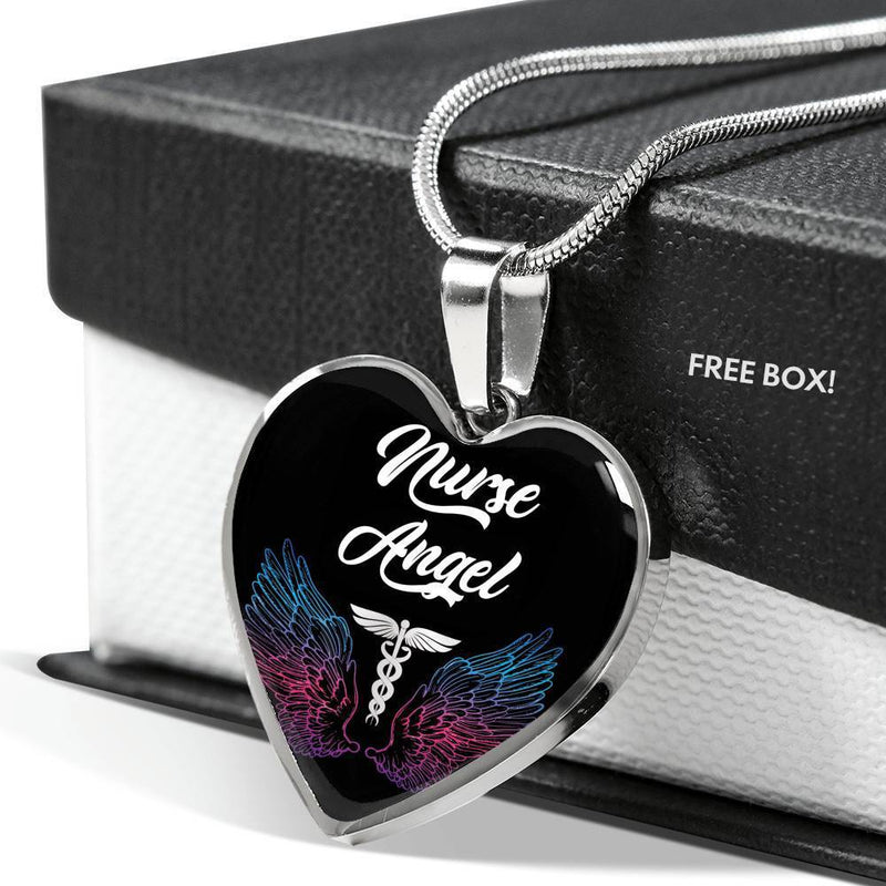 "Nurse Angel Necklace Stainless Steel or 18k Gold Finish Heart Pendant 18""-22"" Express Your Love Gifts"