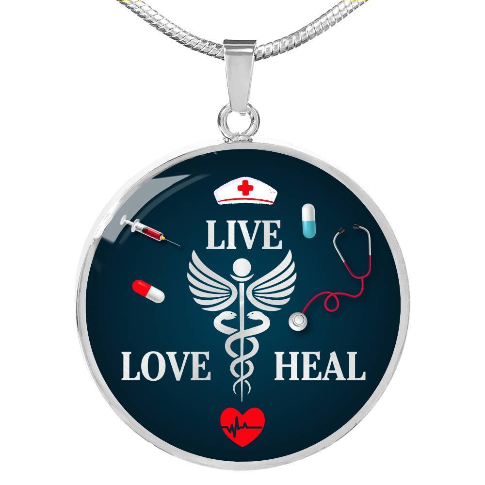 Express Your Love Gifts Nurse Gift Live Love Heal Circle Pendant Necklace