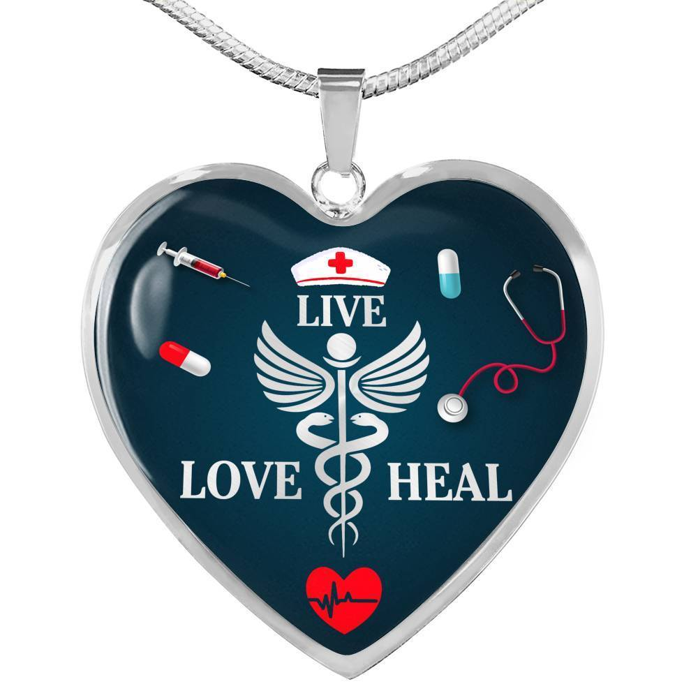 Express Your Love Gifts Nurse Gift Live Love Heal Heart Necklace Pendant