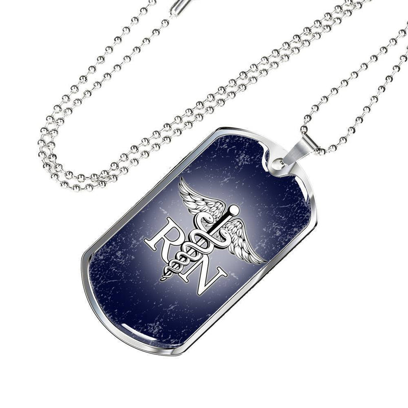 Express Your Love Gifts Nurse RN Nurse Jewelry Gift Dog Tag Pendant Necklace