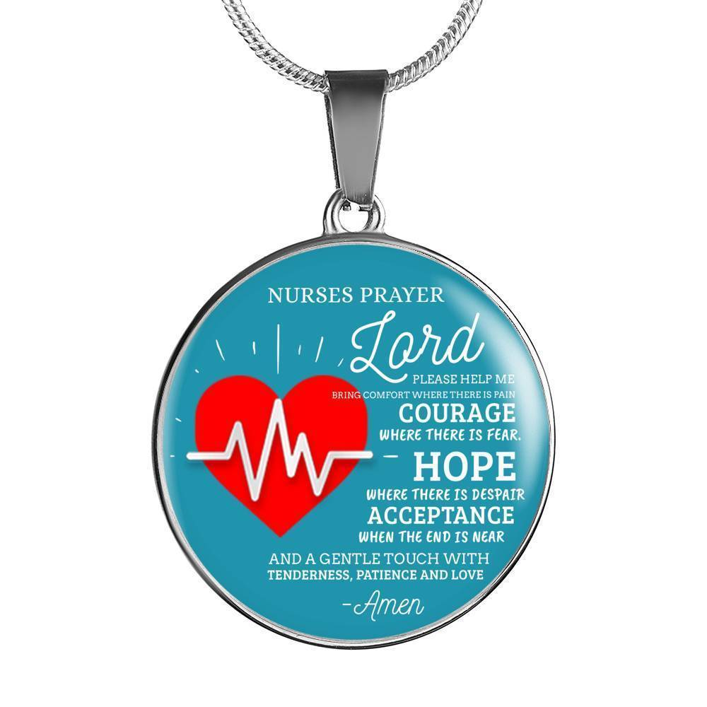 Express Your Love Gifts Nurse's Prayer Nurse Jewelry Gift Circular Handmade Pendant Necklace or Bracelet Bangle