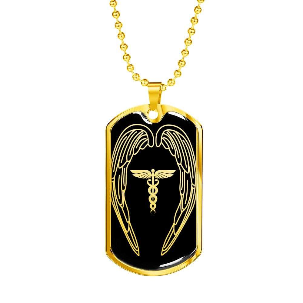 "Nurses Are Angels Dog Tag Stainless Steel or 18k Gold Finish 24"" Ball Chain Express Your Love Gifts"