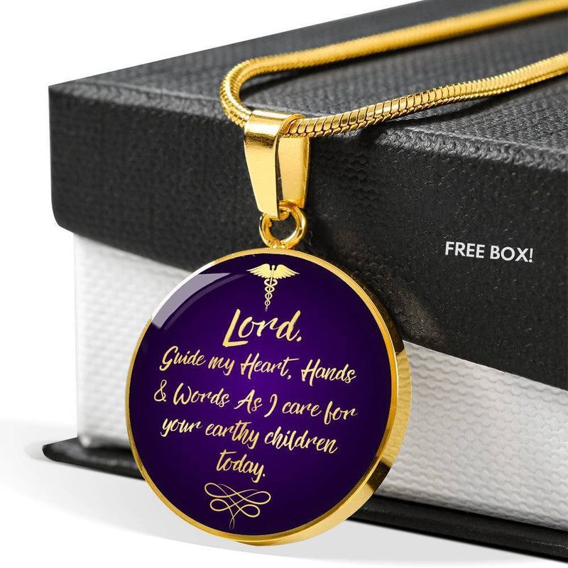 Express Your Love Gifts Nurses Prayer Caduceus Nurse Jewelry Gift Circular Pendant Necklace