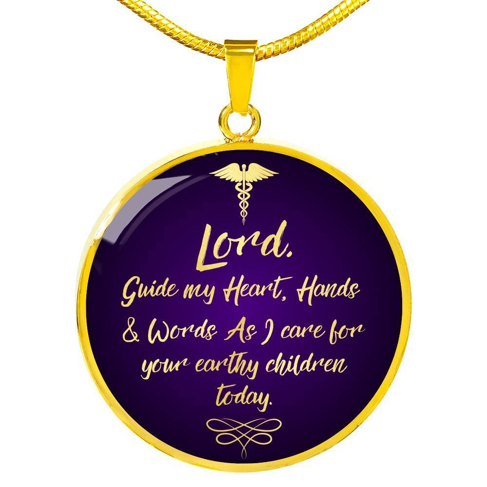 Express Your Love Gifts Nurses Prayer Caduceus Nurse Jewelry Gift Circular Pendant Necklace Luxury Necklace (Gold) / No