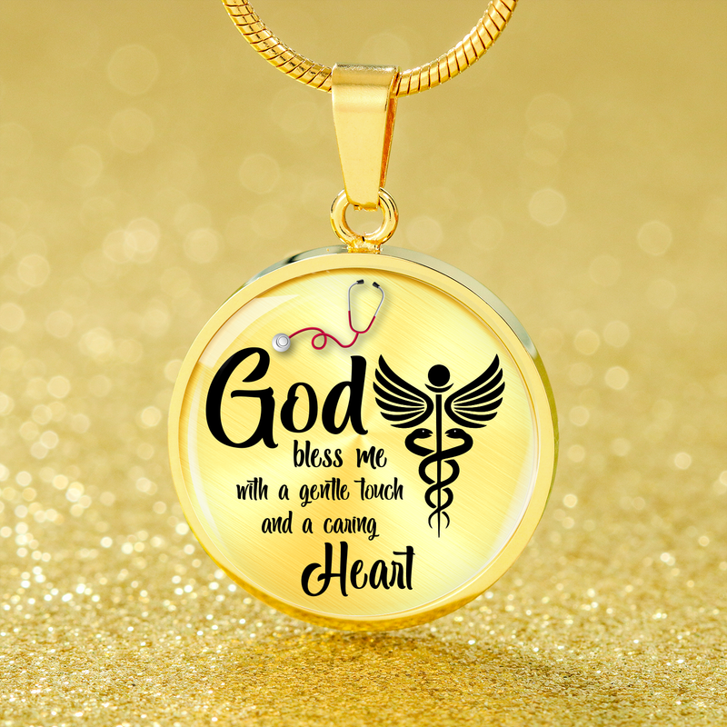 Express Your Love Gifts Nurses Prayer Nurse Jewelry Gift Circular Necklace Pendant Luxury Necklace (Silver) / No