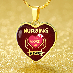 Express Your Love Gifts Nursing is a Work of Heart Nurse Jewelry Gift Necklace Pendant
