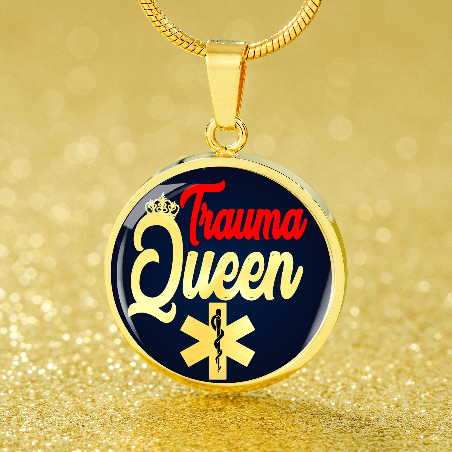 "Nursing Jewelry Trauma Queen Circle Pendant Necklace Stainless Steel or 18k Gold Finish 18""-22"" Express Your Love Gifts"