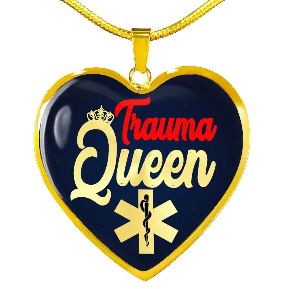 "Nursing Jewelry Trauma Queen Necklace Stainless Steel or 18k Gold Finish Heart Pendant 18""-22"" Express Your Love Gifts"