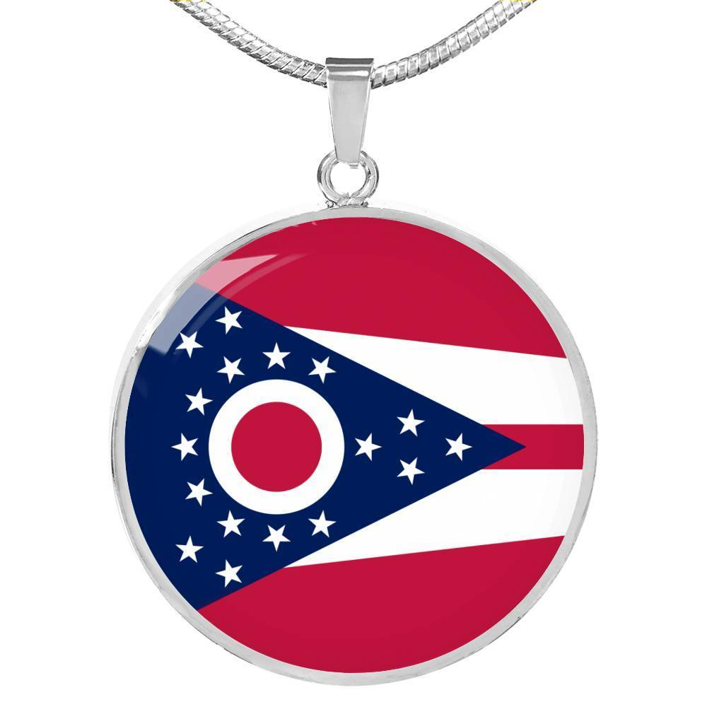 "Ohio State Flag Necklace Stainless Steel or 18k Gold Circle Pendant 18-22"" - Express Your Love Gifts"