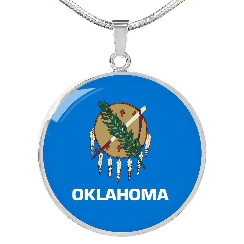 "Oklahoma State Flag Necklace Stainless Steel or 18k Gold Circle Pendant 18-22"" - Express Your Love Gifts"
