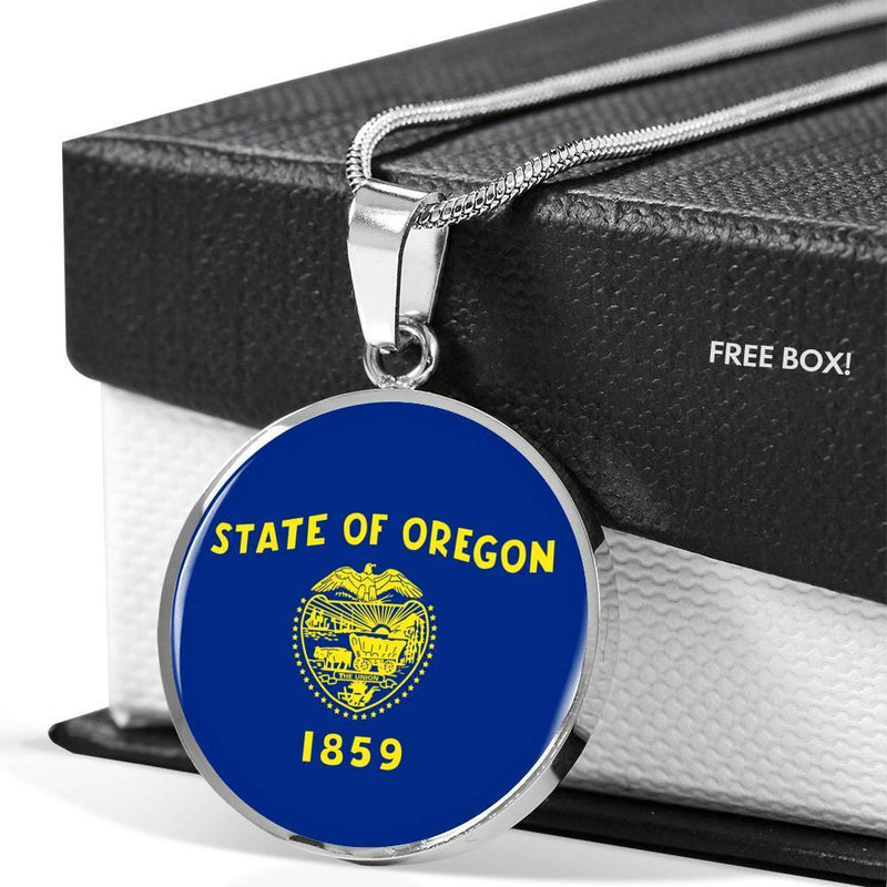 "Oregon State Flag Necklace Stainless Steel or 18k Gold Circle Pendant 18-22"" - Express Your Love Gifts"