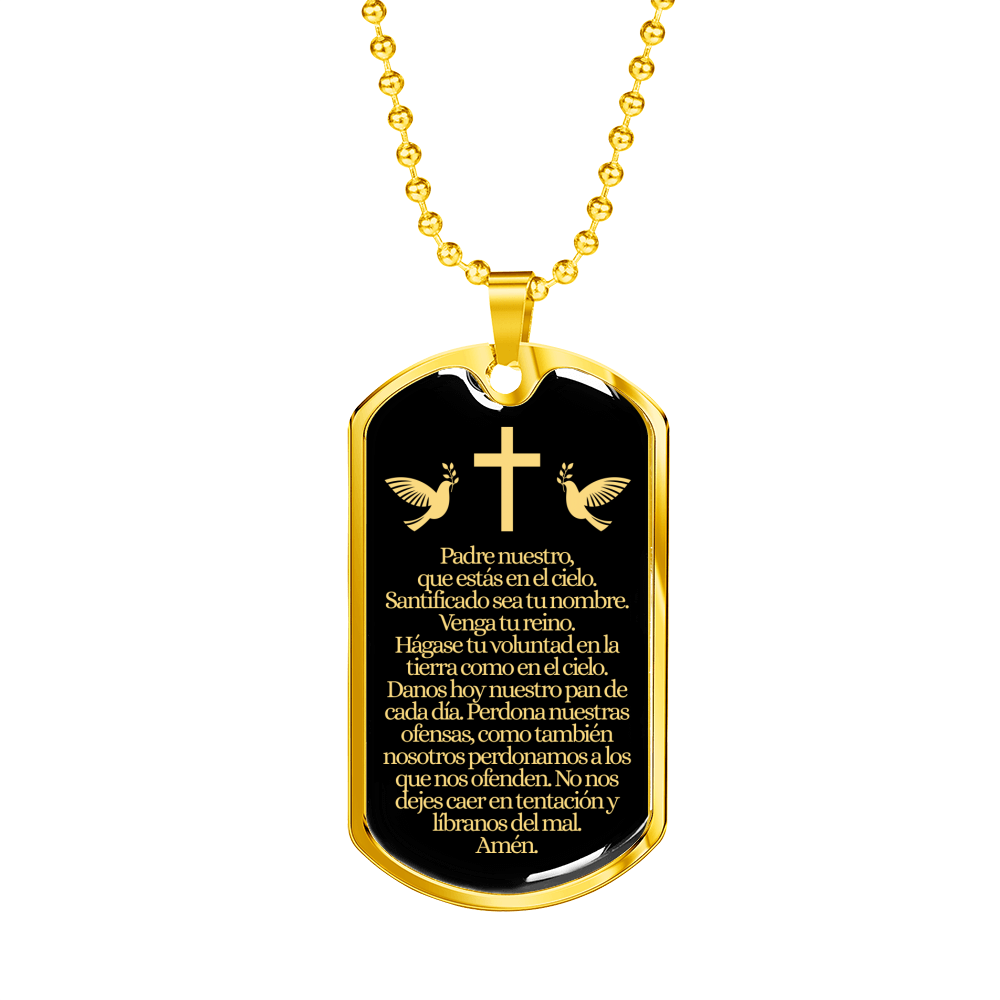 "Our Father in Spanish Padre Nuestro Lord's Prayer Matthew 6:9 Necklace Stainless Steel or 18k Gold Dog Tag w 24"" Chain - Express Your Love Gifts"