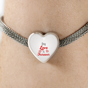 Express Your Love Gifts Our Love is Forever-Handmade Stainless Steel- Heart Charm Bracelet S/M Bracelet & Charm / No