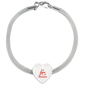 Express Your Love Gifts Our Love is Forever-Handmade Stainless Steel- Heart Charm Bracelet