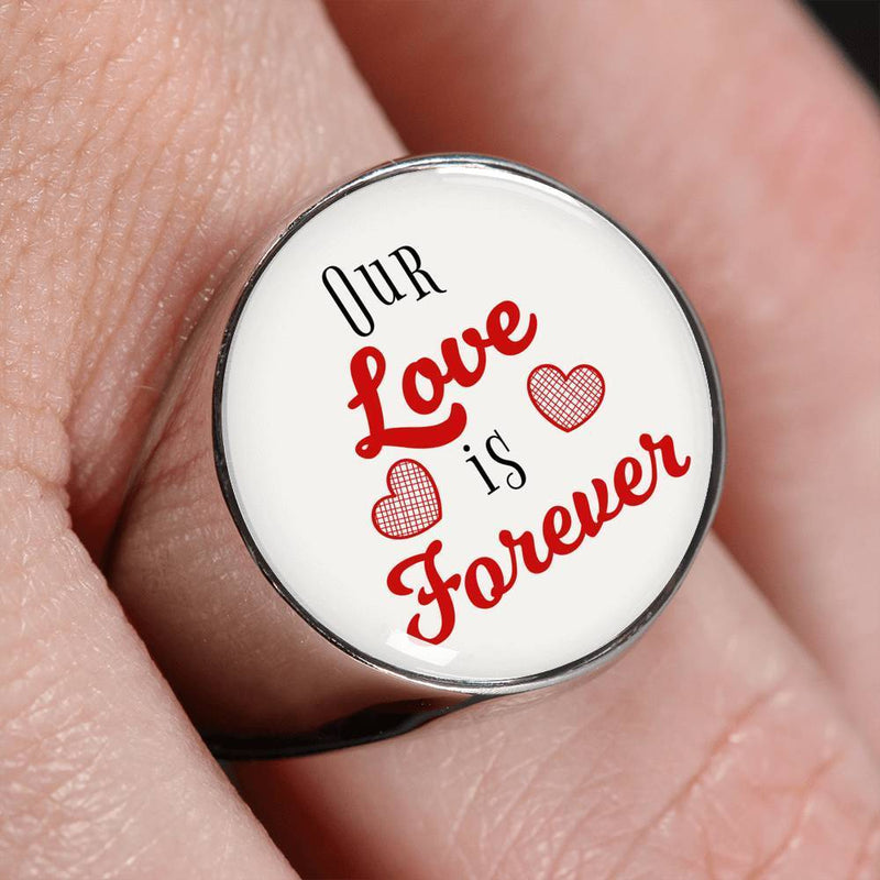 Express Your Love Gifts Our Love is Forever Stainless Steel-Silver Tone Bible Verse Circle Signet Ring w Free Luxury Gift Box Size 4