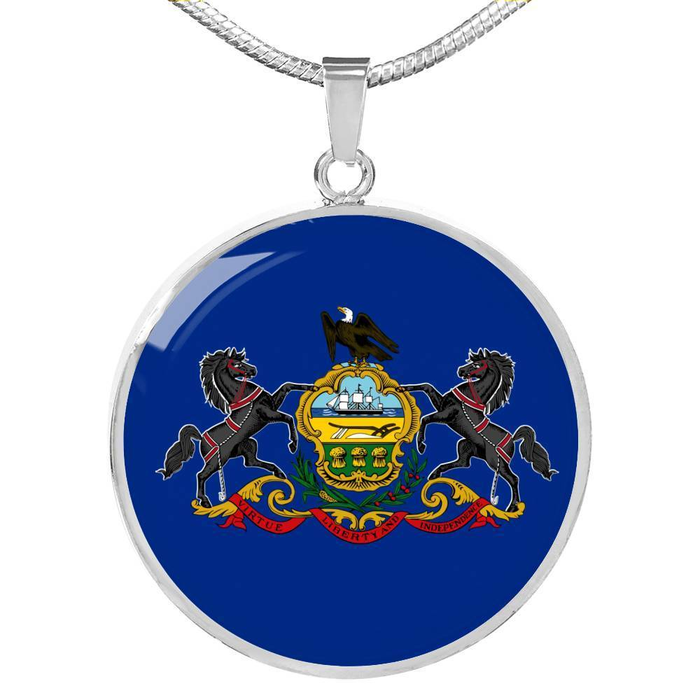 "Pennsylvania State Flag Necklace Stainless Steel or 18k Gold Circle Pendant 18-22"" - Express Your Love Gifts"
