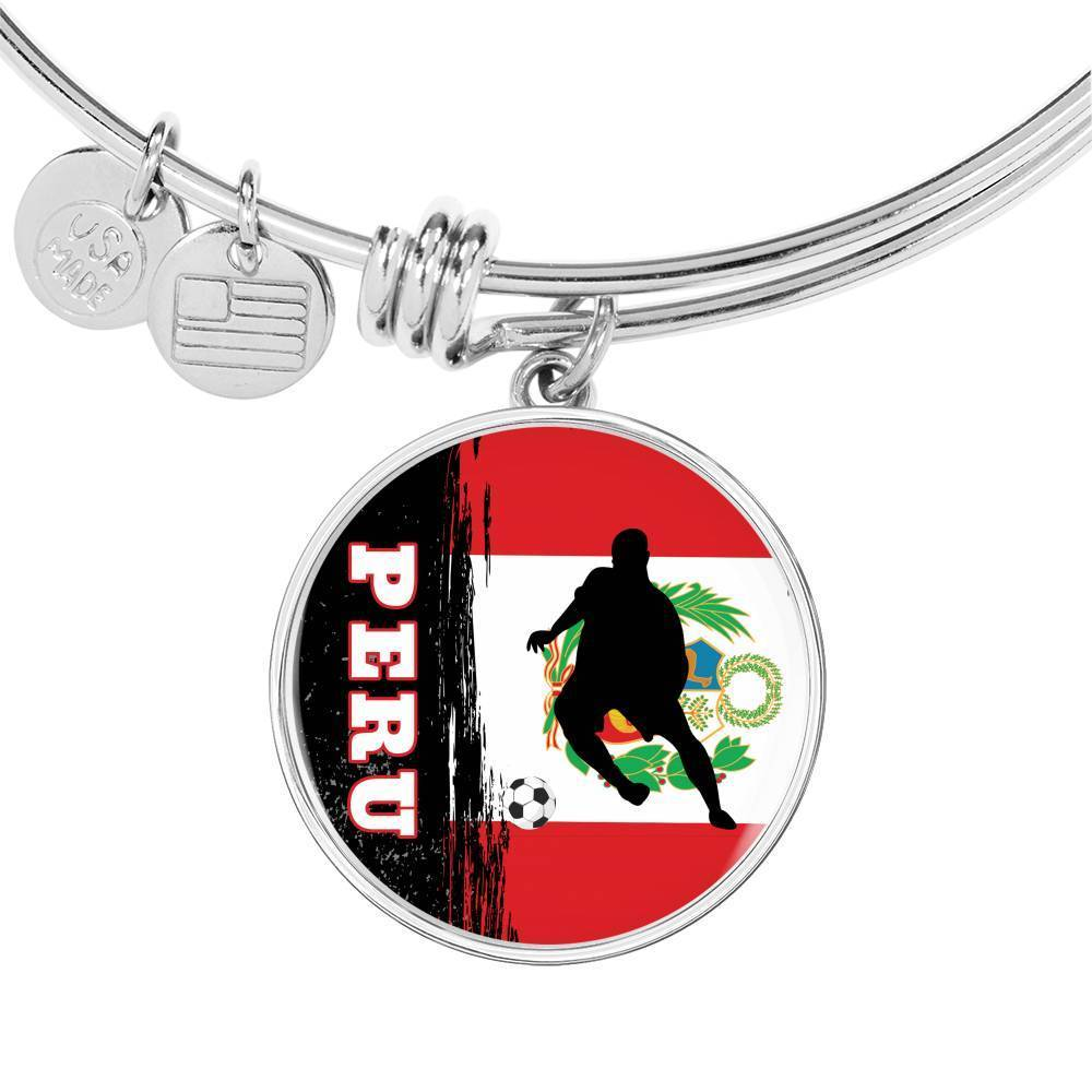 Peru Flag and Futbol/Soccer Stainless Steel or 18k Gold Circle Bangle Bracelet - Express Your Love Gifts