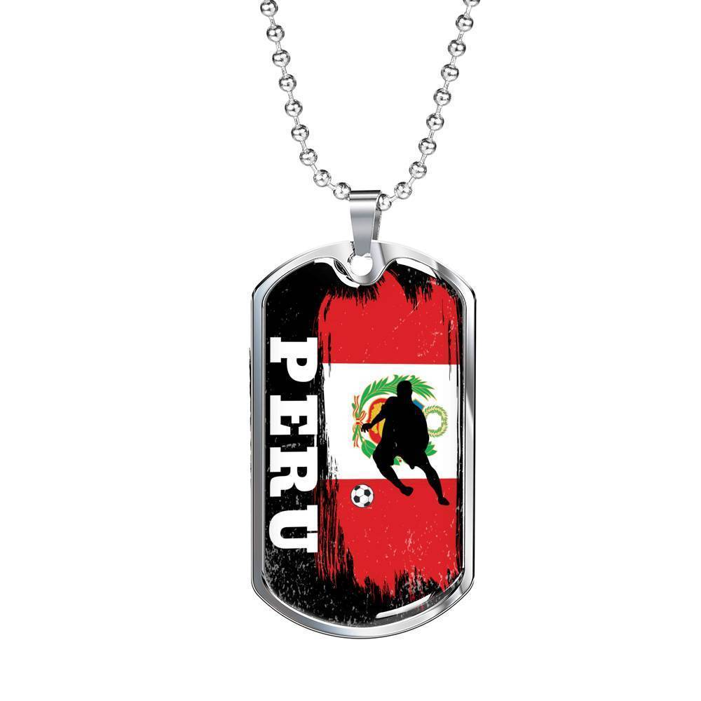 "Peru Flag and Futbol/Soccer Necklace Stainless Steel or 18k Gold Dog Tag w 24"" Chain - Express Your Love Gifts"