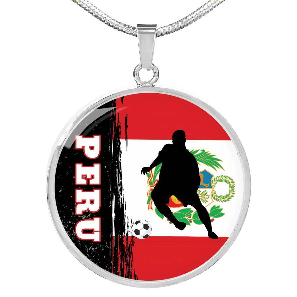 "Peru Flag and Futbol/Soccer Circle Pendant Necklace Stainless Steel or 18k Gold 18-22"" - Express Your Love Gifts"