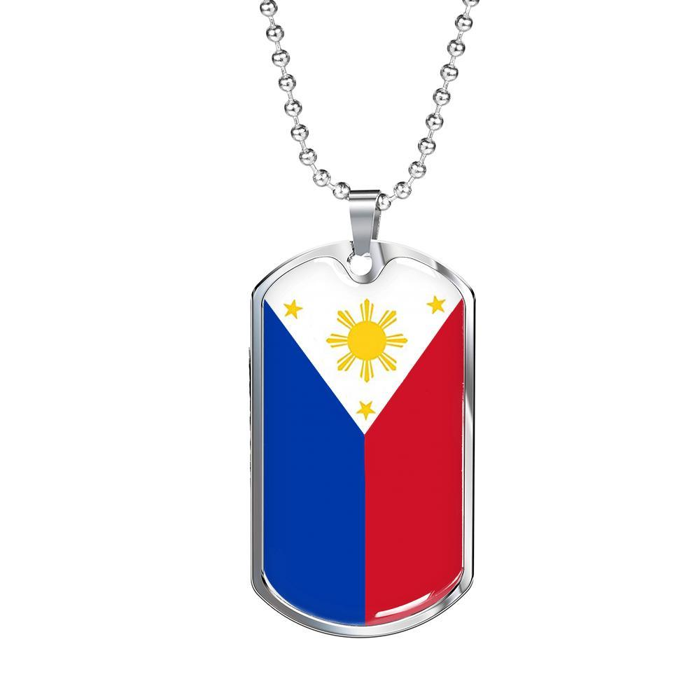 "Philippine Flag Necklace Filipino Flag Pendant Stainless Steel or 18k Gold Dog Tag 24"" - Express Your Love Gifts"