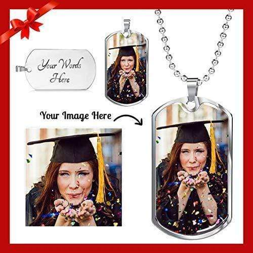 "Photo Engraved Dog Tag Necklace 24"" w Ball Chain Express Your Love Gifts"