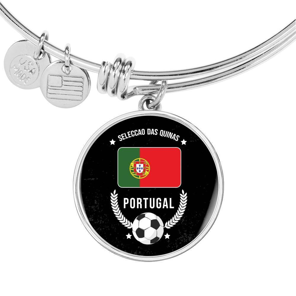 Portugal Flag & Futbol/Soccer Stainless Steel or 18k Gold Circle Bangle Bracelet - Express Your Love Gifts
