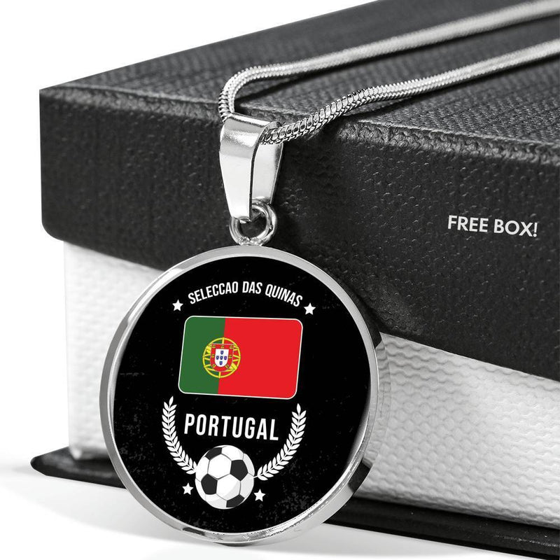 "Portugal Flag & Futbol/Soccer Circle Pendant Necklace Stainless Steel or 18k Gold 18-22"" - Express Your Love Gifts"