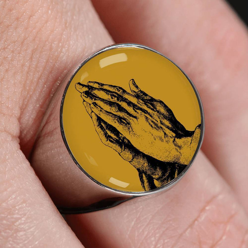 Express Your Love Gifts Praying Hands Signet Ring- Faith in Christ Prayer Ring