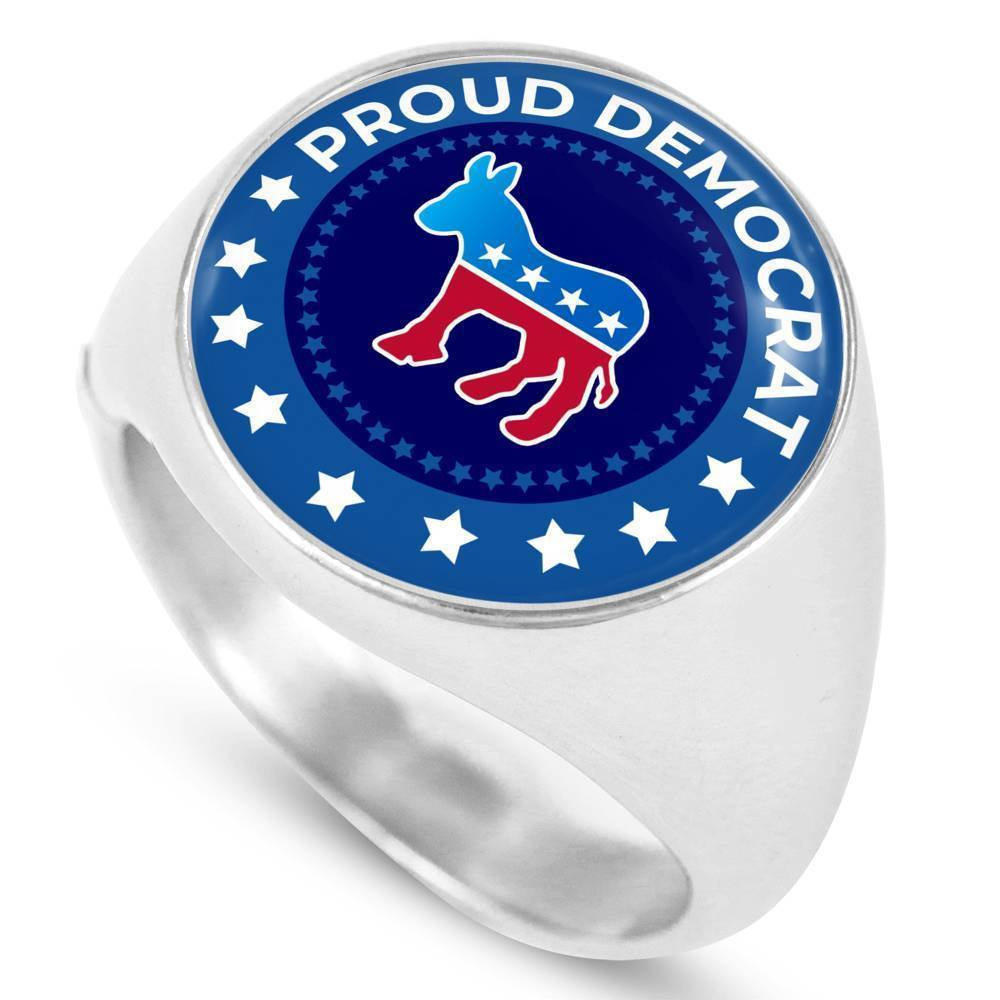 Express Your Love Gifts Proud Democrat Circle Signet Ring