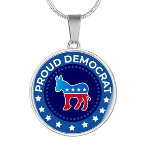 Express Your Love Gifts Proud Liberal Democrat Donkey-Silver Tone or 18k Gold Finish-Circle Pendant Necklace