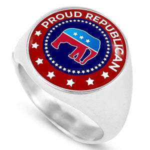Express Your Love Gifts Proud Republican Circle Signet Ring