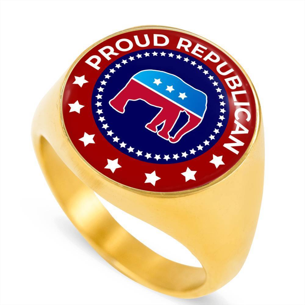 Proud Republican Ring Stainless Steel 18k Gold Signet - Express Your Love Gifts
