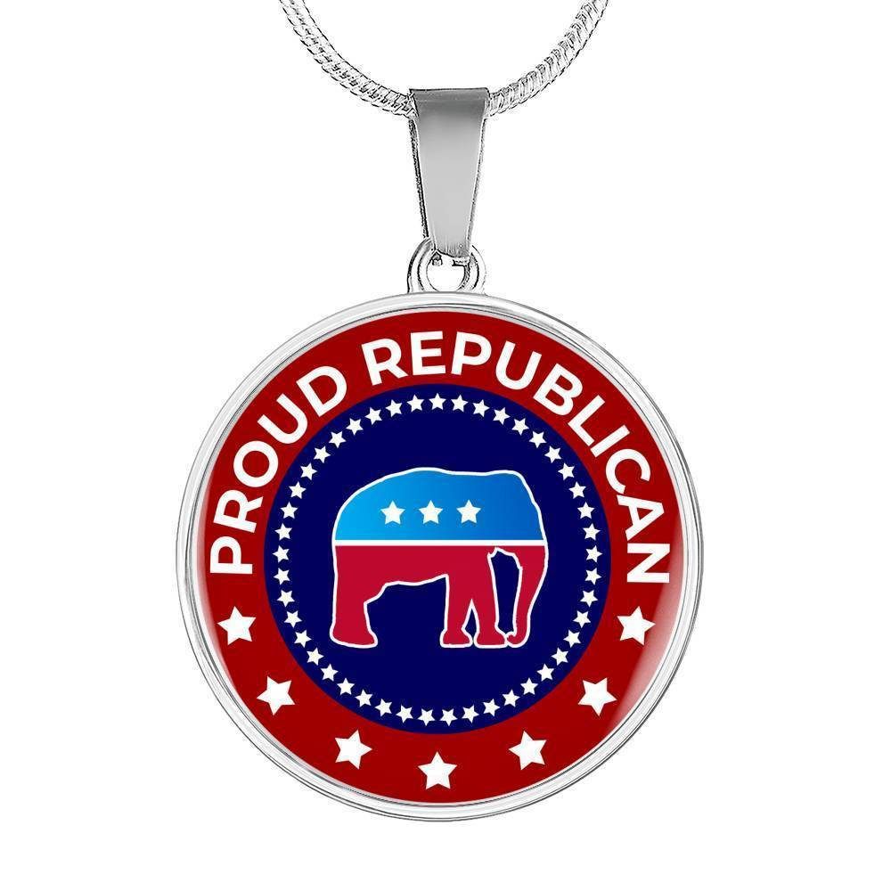 "Express Your Love Gifts Proud Republican Stainless Steel-Silver Tone or 18k Gold Finish-Pendant Necklace Adjustable 18""-22"""