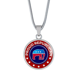 "Express Your Love Gifts Proud Republican Stainless Steel-Silver Tone or 18k Gold Finish-Pendant Necklace Adjustable 18""-22"" Luxury Necklace (Silver) / No"