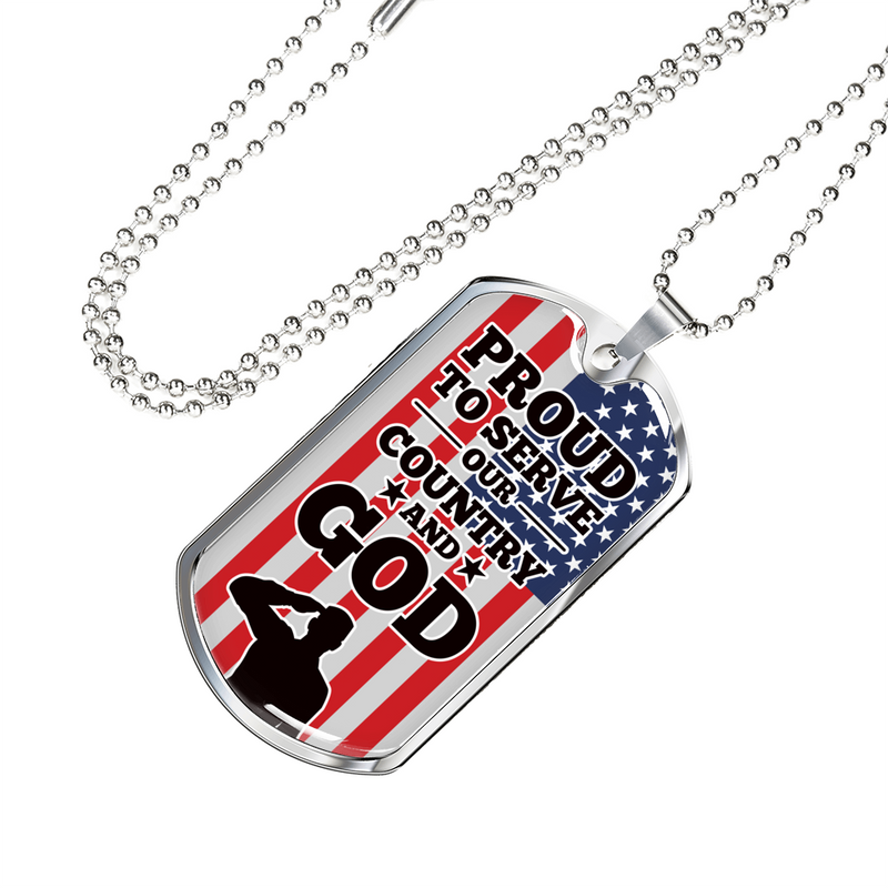 Express Your Love Gifts Proud To Serve Our Country and God Patriotic Military Dog Tag Pendant Necklace