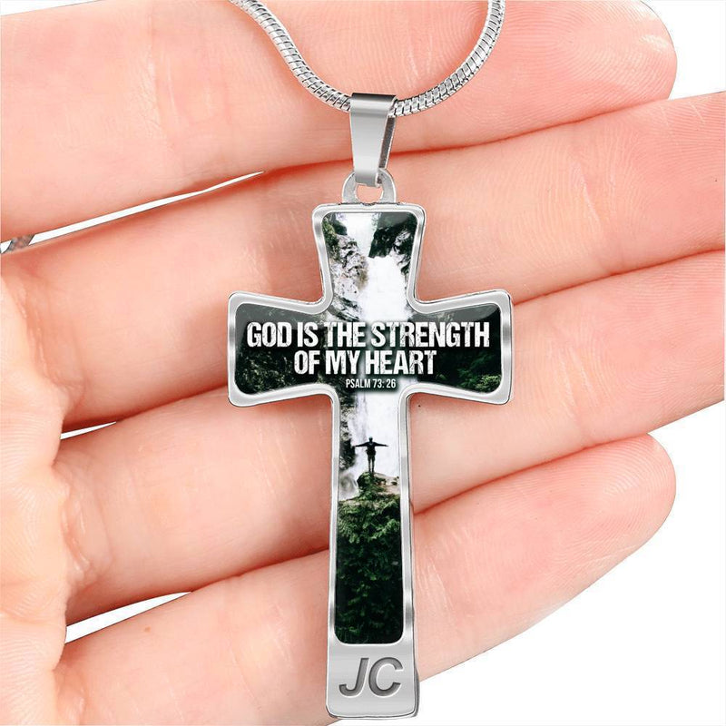 Express Your Love Gifts Psalm Bible Verse God is the Strength of my Heart Cross Pendant Necklace