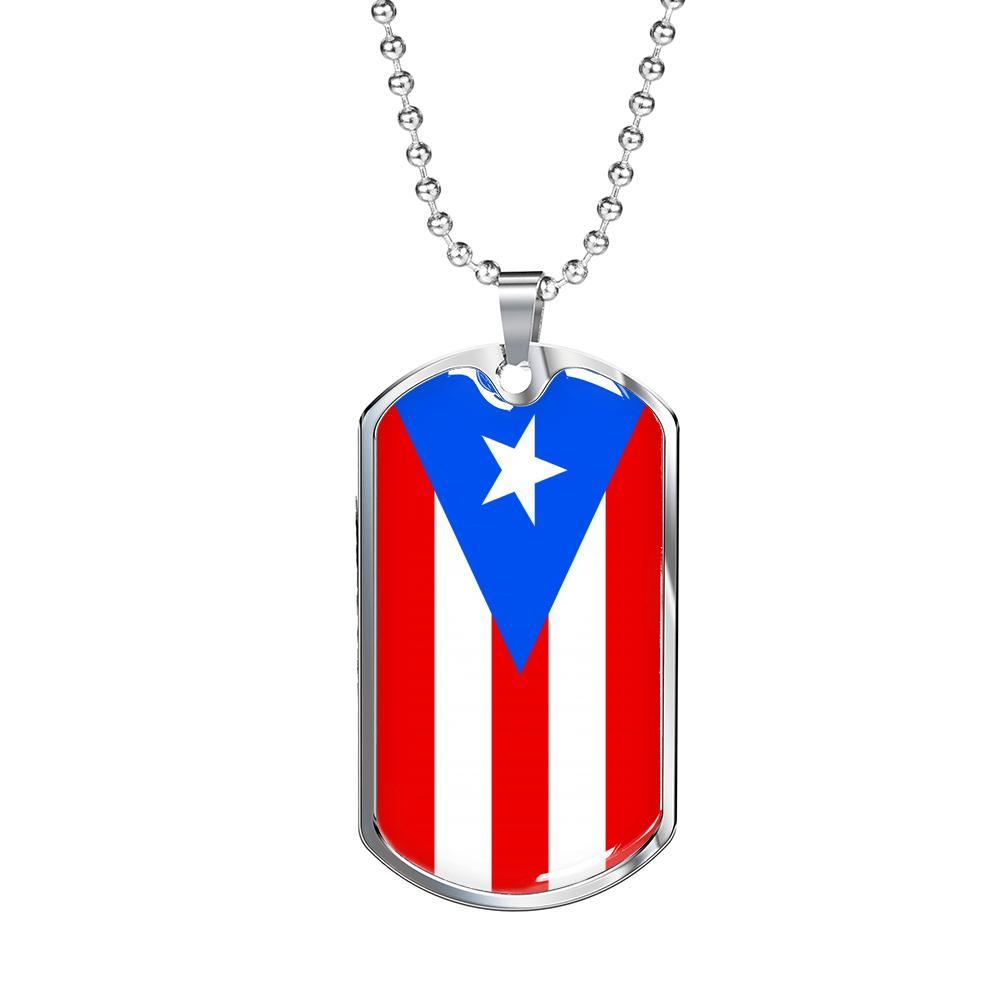 "Puerto Rico Flag Necklace Stainless Steel or 18k Gold Dog Tag w 24"" Chain - Express Your Love Gifts"